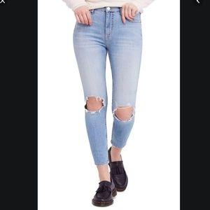 Free People Destroyed Knee Skinny Jean